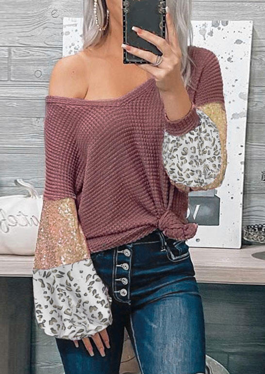 Leopard Sequined Splicing Waffle V-Neck Blouse - Cameo Brown