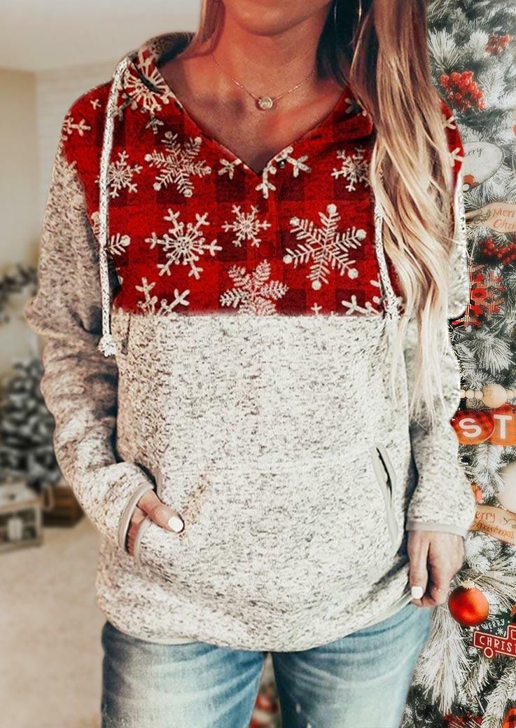 Christmas Snowflake Plaid Drawstring Kangaroo Pocket Hoodie