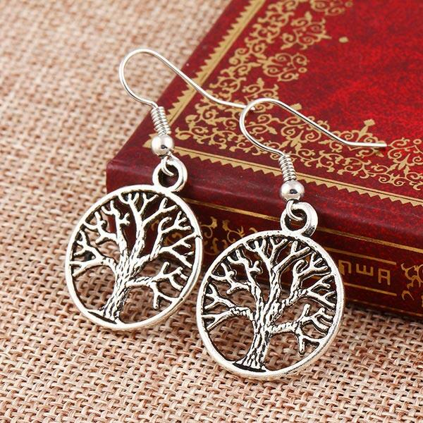 Vintage Hollow Out Tree Round Pendant Earrings