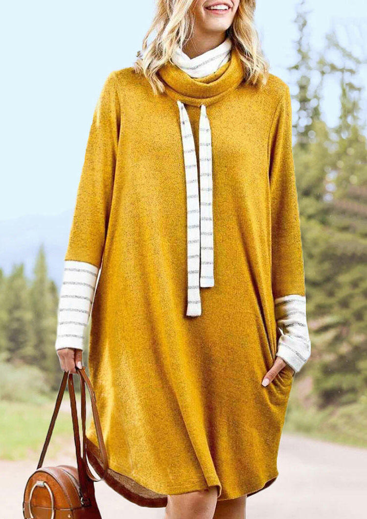 Striped Splicing Drawstring Cowl Neck Mini Sweatshirt Dress - Yellow