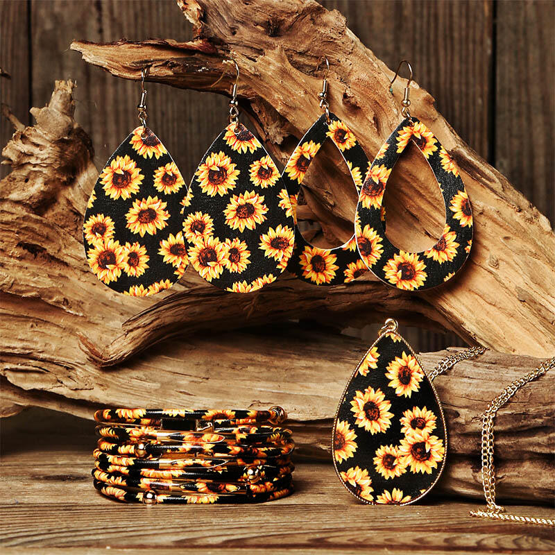 6Pcs Sunflower Hollow Out Earrings Multil-Layered Bracelet And Necklace Set