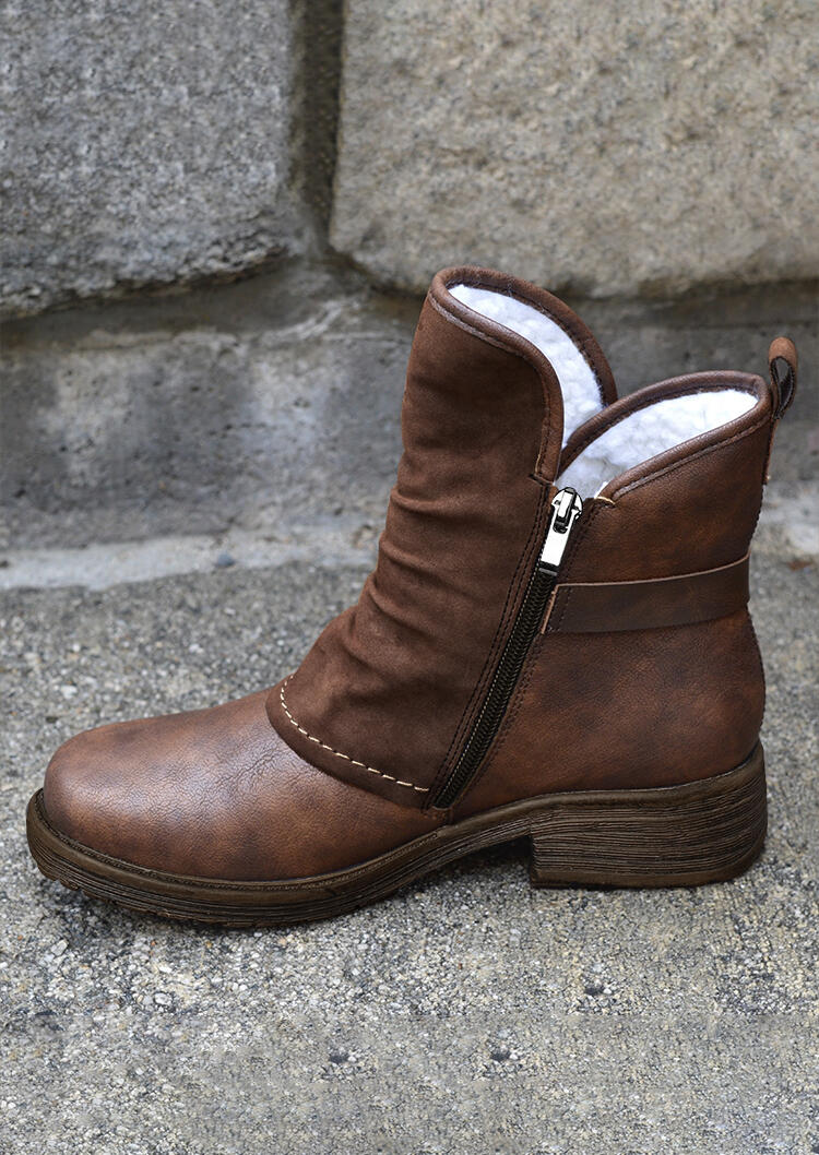Winter Warm Plush Zipper Round Toe Chunky Heel Ankle Boots