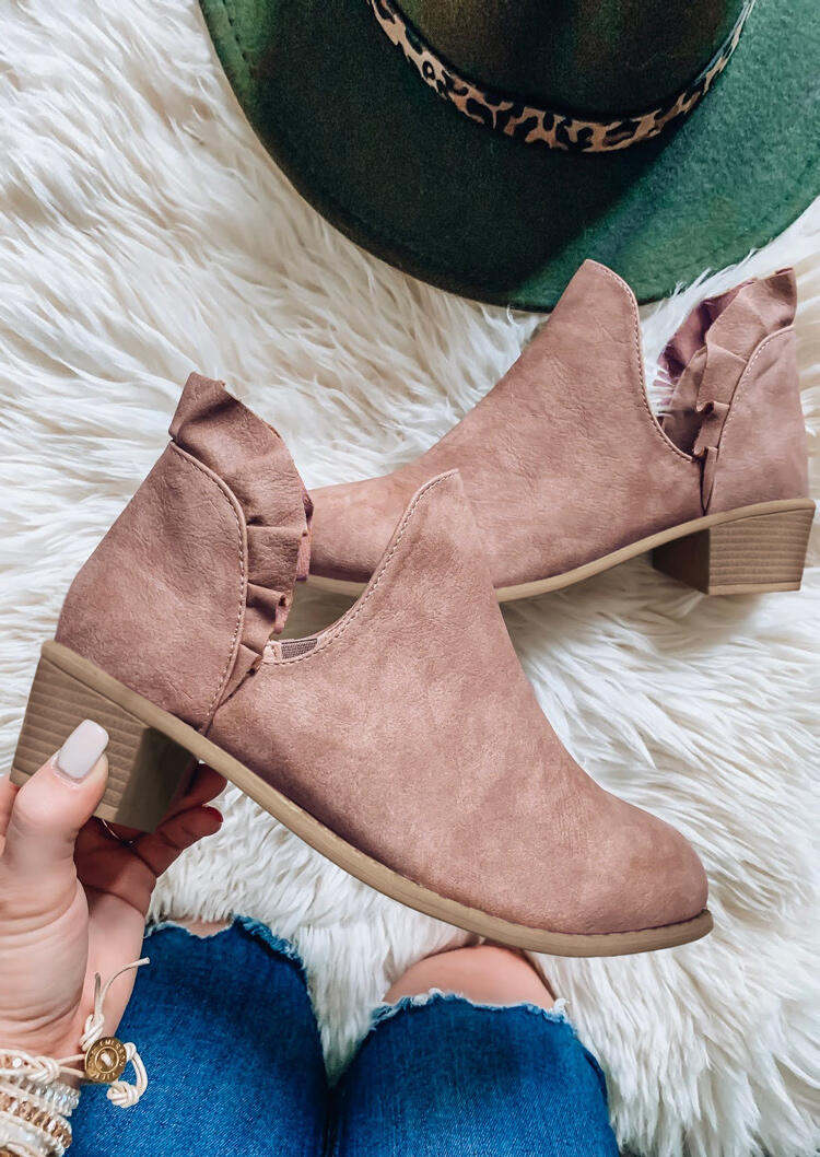 Ruffled Slip On Chunky Heel Ankle Boots - Pink
