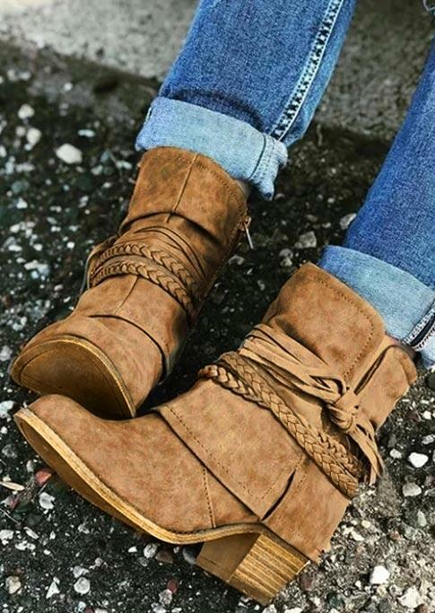 Chunky Heel Round Toe Strap Ankle Boots - Light Brown