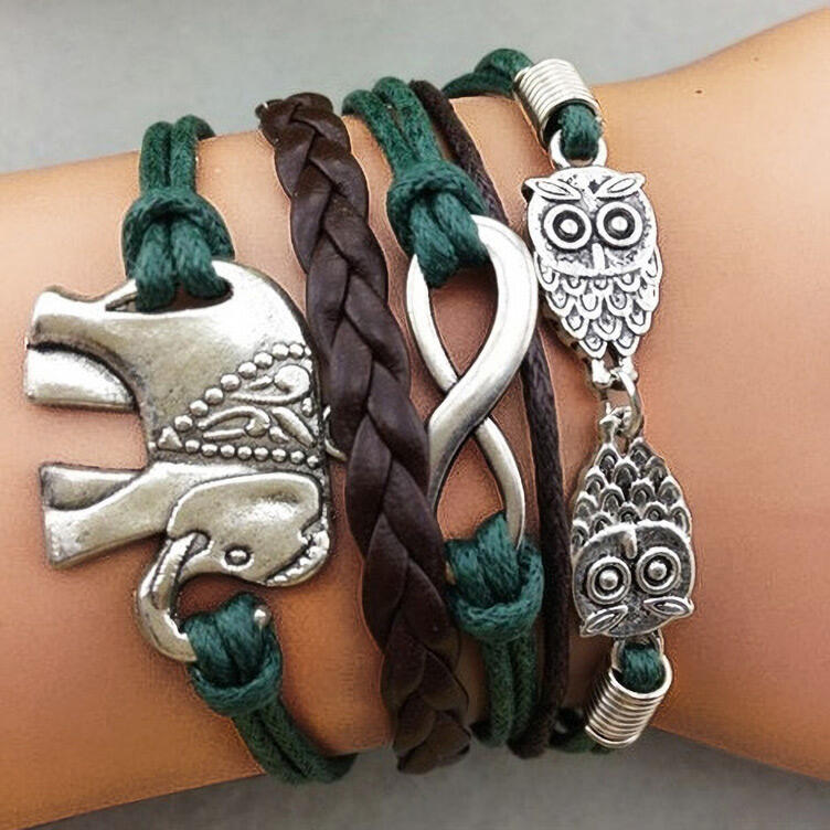 Fairyseason coupon: Vintage Elephant Owl Multi-Layered Braided Bracelet