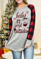 Christmas Baby It's Cold Outside Buffalo Plaid T-Shirt Tee