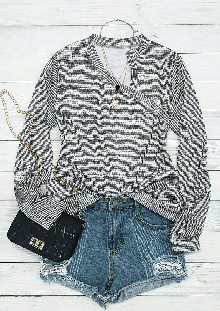 Striped Button Long Sleeve Blouse - Gray