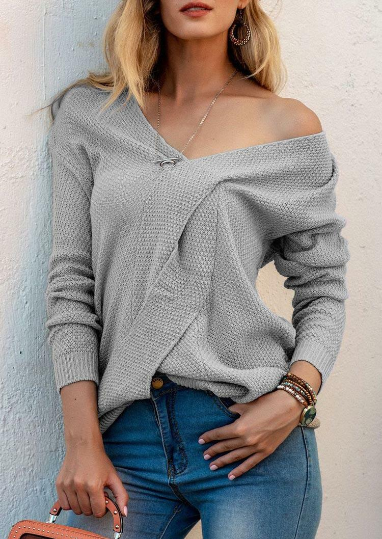 Twist Splicing V-Neck Knitted Sweater - Gray