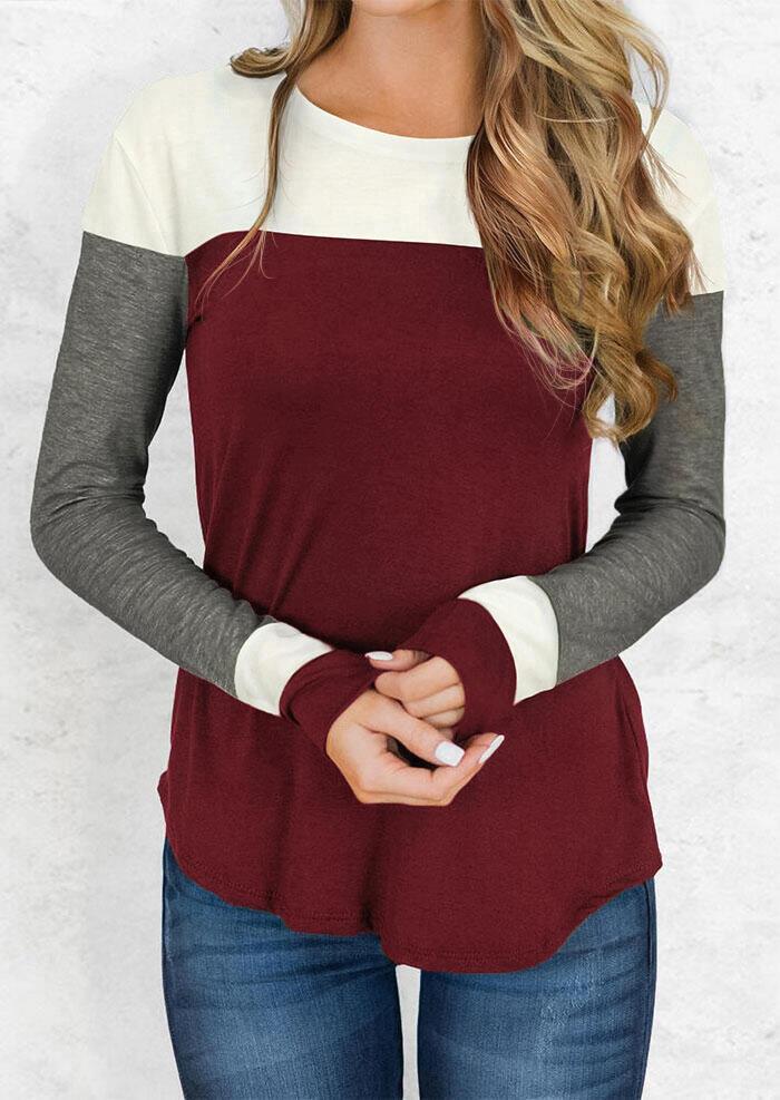 Color Block Long Sleeve T-Shirt Tee - Burgundy