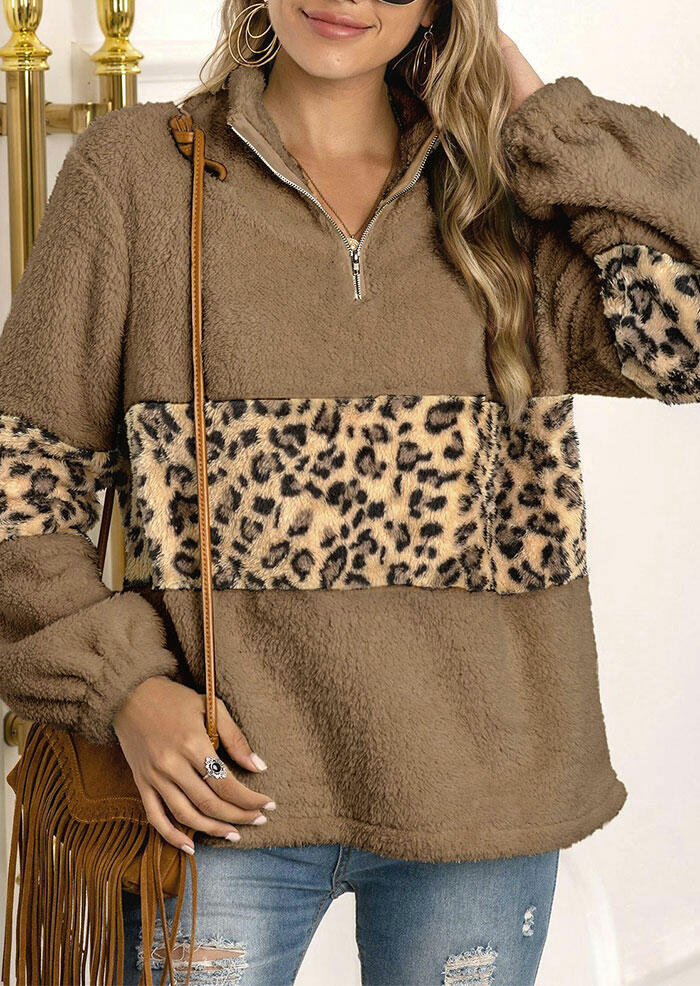 Leopard Splicing Zipper Collar Elastic Cuff Fleece Sweatshirt - Brown