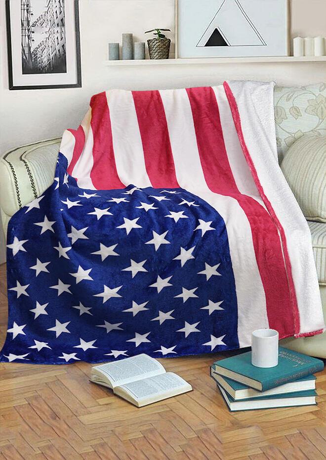 American Flag Star Striped Warm Flannel Blanket