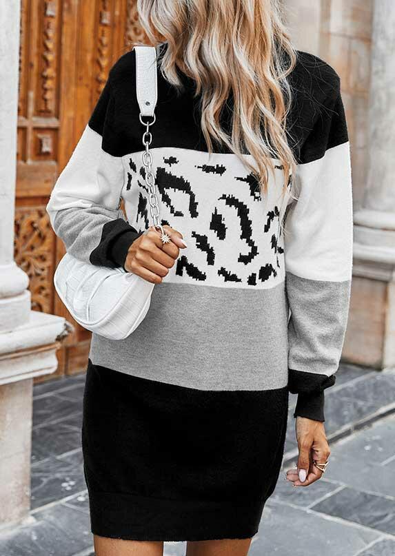 Color Block Leopard Long Sleeve Mini Dress