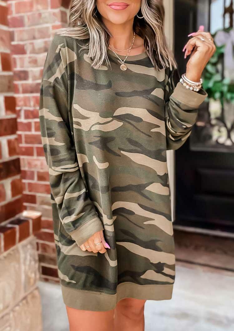 Fairyseason coupon: Camouflage Long Sleeve Loose Mini Sweatshirt Dress