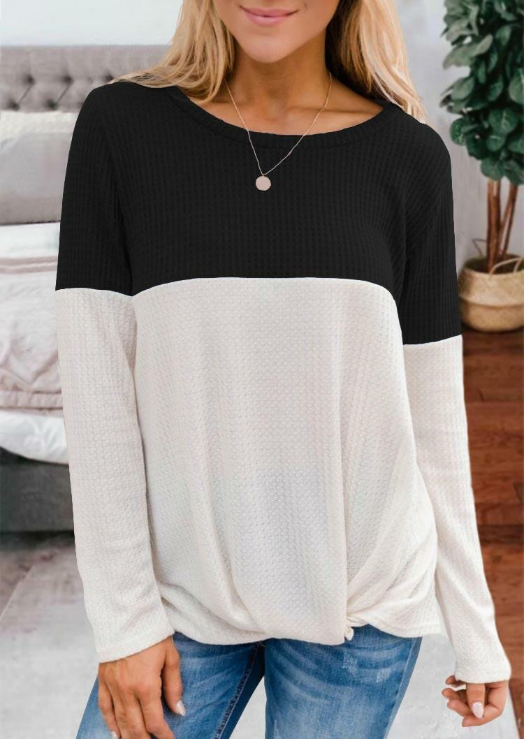 Color Block Twist O-Neck Blouse - Black