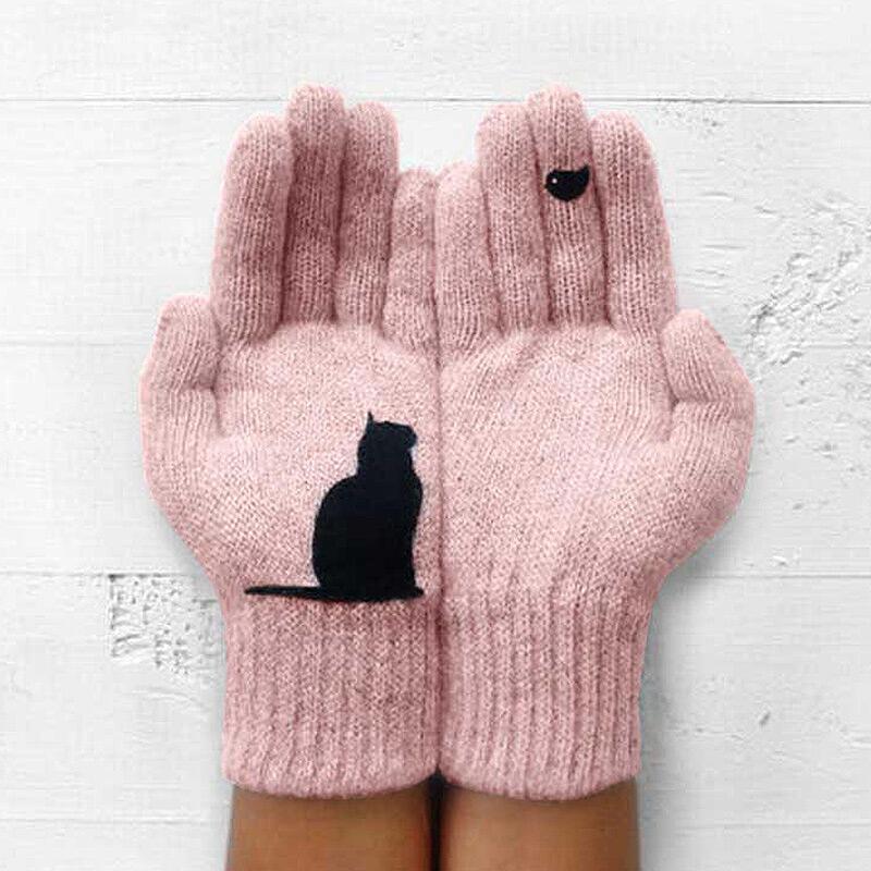 Fairyseason coupon: Winter Warm Black Cat Bird Knitted Gloves