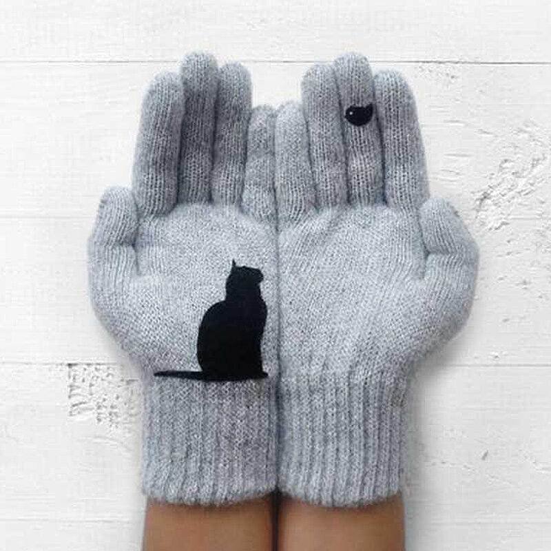 Fairyseason coupon: Winter Warm Black Cat Bird Knitted Gloves