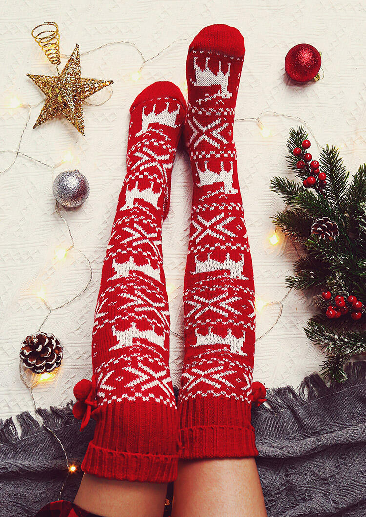 Fairyseason / Christmas Elk  Knitted Hairball Thigh-High Socks