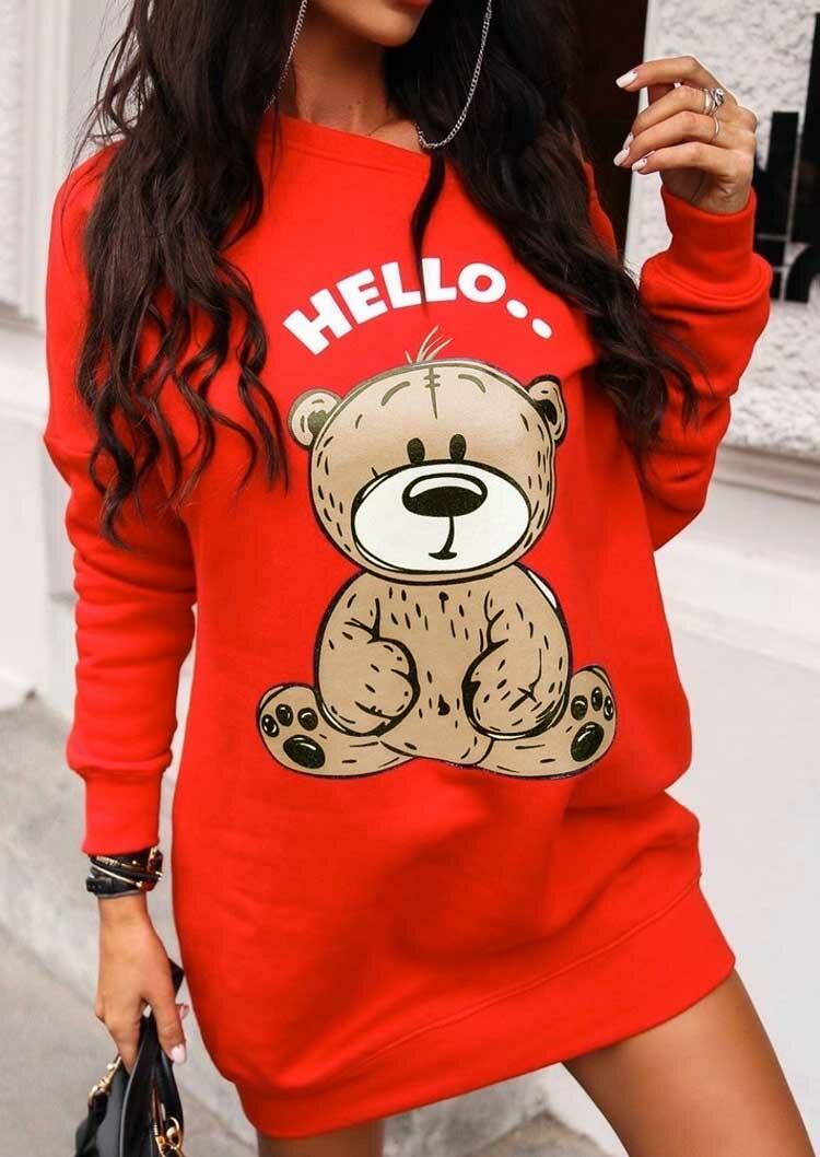 Hello Bear Drop Shoulder Mini Dress - Red