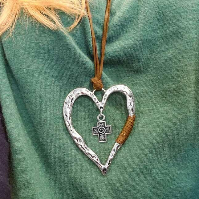 Fairyseason coupon: Vintage Heart Cross Braided Sweater Chain Necklace - Light Coffee