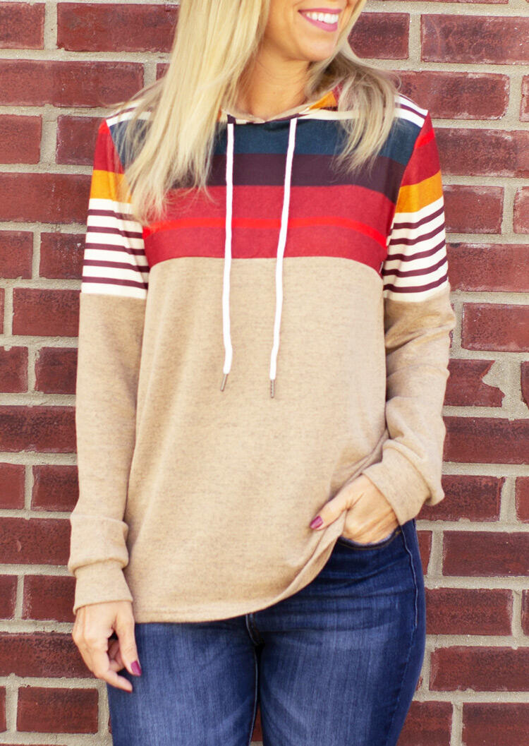 Colorful Striped Splicing Drawstring Pullover Hoodie