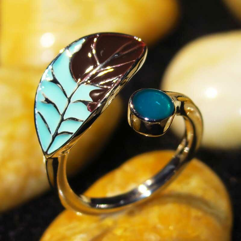 Creative Leaf Turquoise Open Ring