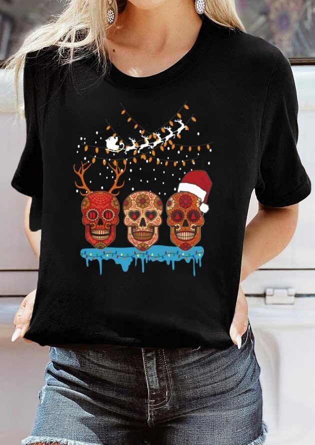 Floral Skull Reindeer T-Shirt Tee - Black