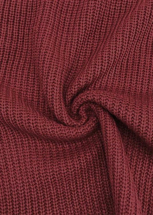 Criss-Cross Tie Long Sleeve Knitted Pullover Sweater - Burgundy