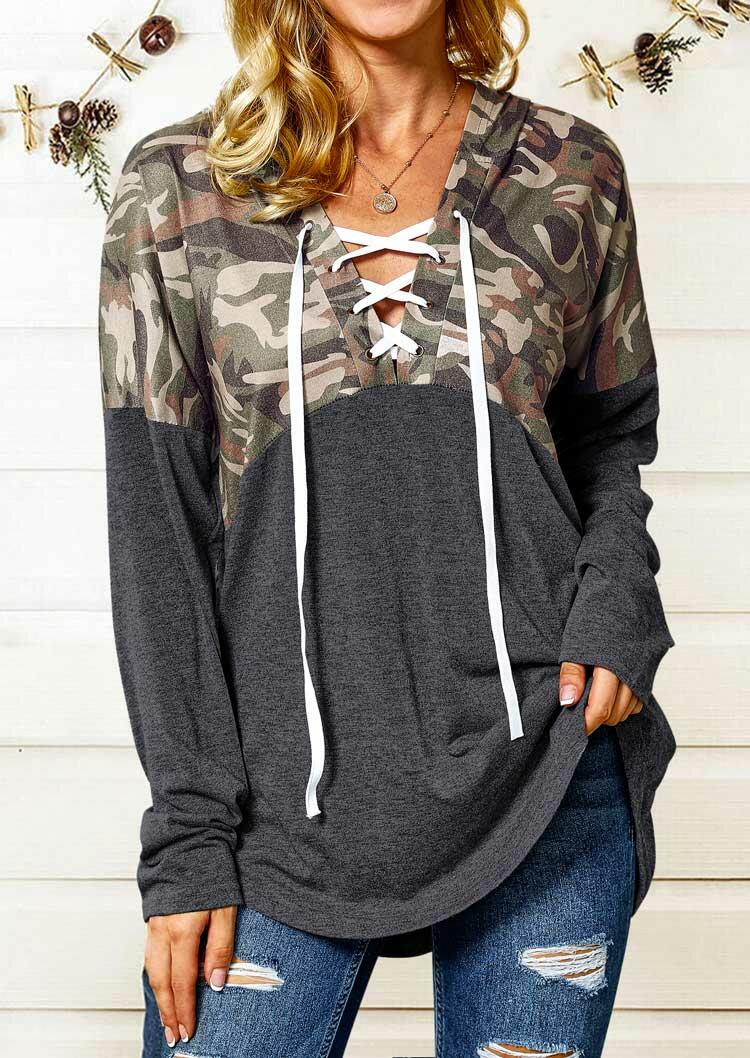 Camouflage Splicing Lace Up Hooded Blouse