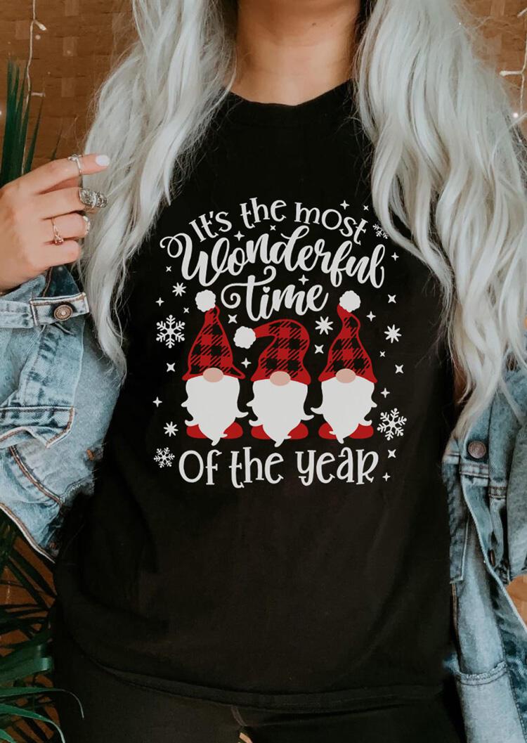 Christmas Gnomies Plaid Wonderful Time T-Shirt Tee - Black