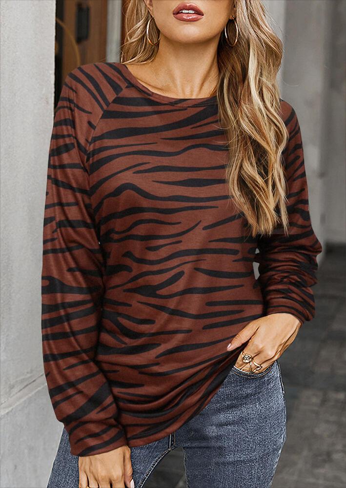 Zebra Raglan Sleeve O-Neck Blouse - Coffee