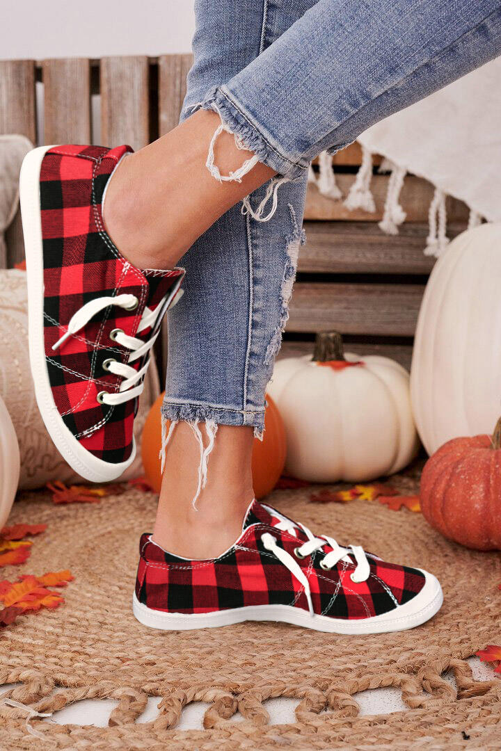Buffalo Plaid Lace Up Flat Canvas Sneaker - Red