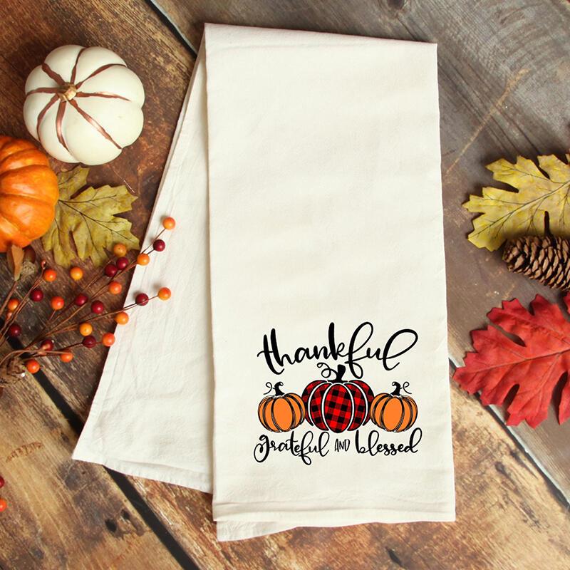 Fairyseason coupon: Thankful Grateful And Blessed Buffalo Plaid Pumpkin Tea Towel