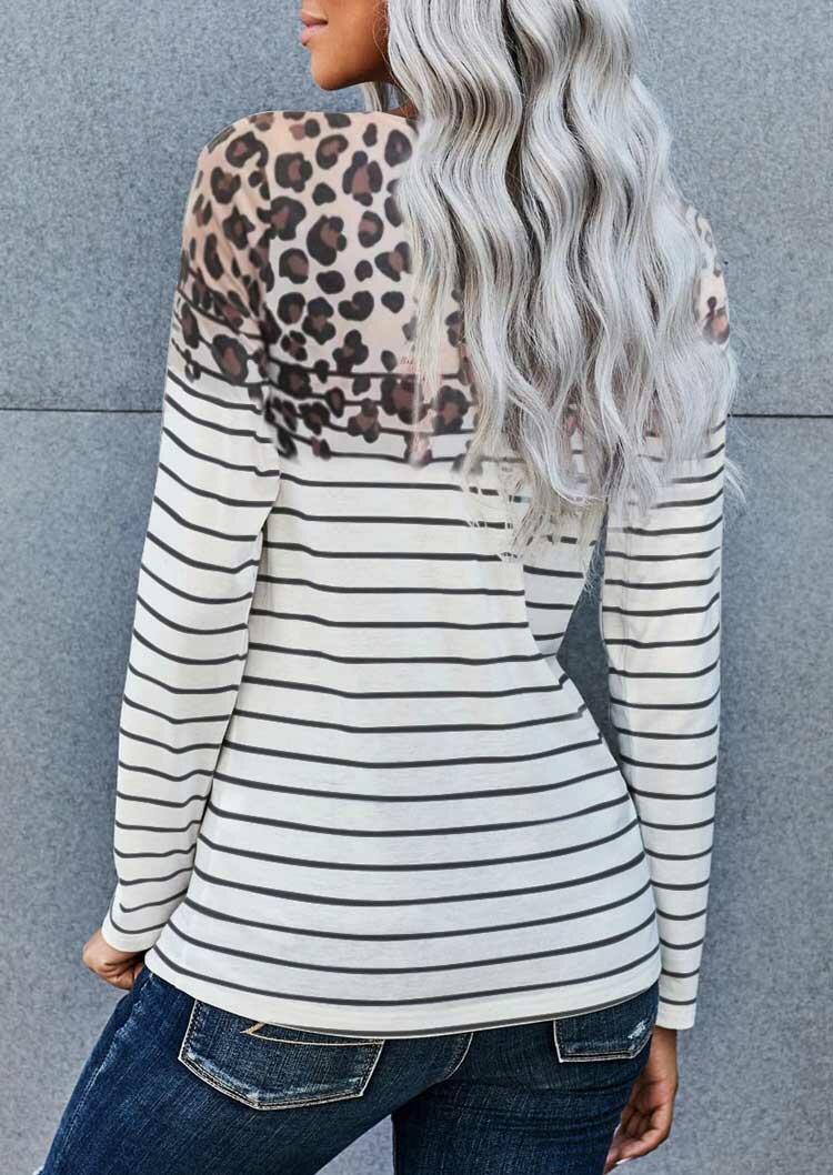 Leopard Striped Splicing Long Sleeve Blouse