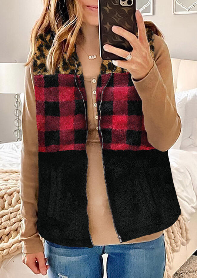 Buffalo Plaid Leopard Splicing Zipper Fleece Vest Coat