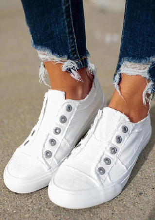 Slip On Round Toe Flat Canvas Sneakers - White