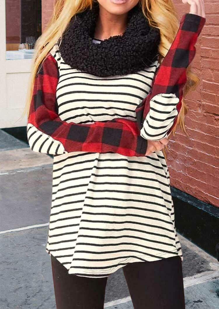 Buffalo Plaid Splicing Striped Elbow Patch Blouse
