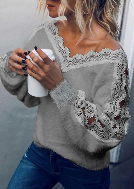Lace Splicing Hollow Out Plush Blouse - Gray