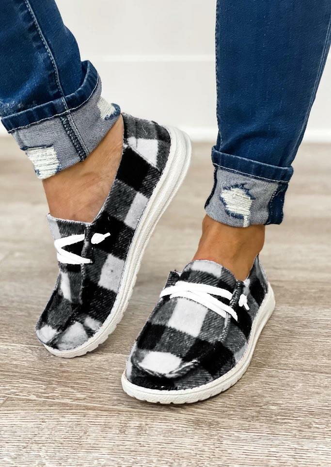Plaid Lace Up Round Toe Flat Sneakers - Black