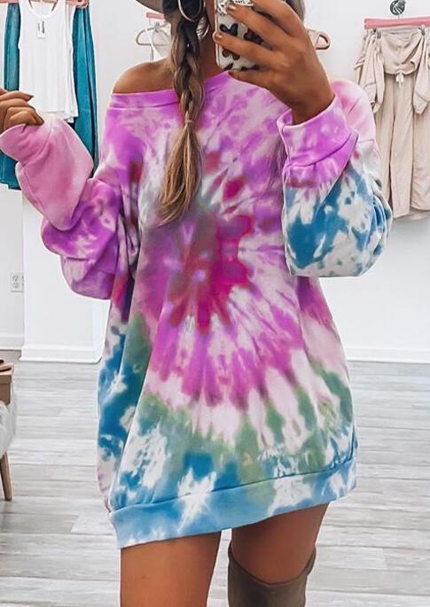 Tie Dye O-Neck Sweatshirt Mini Dress - Purple