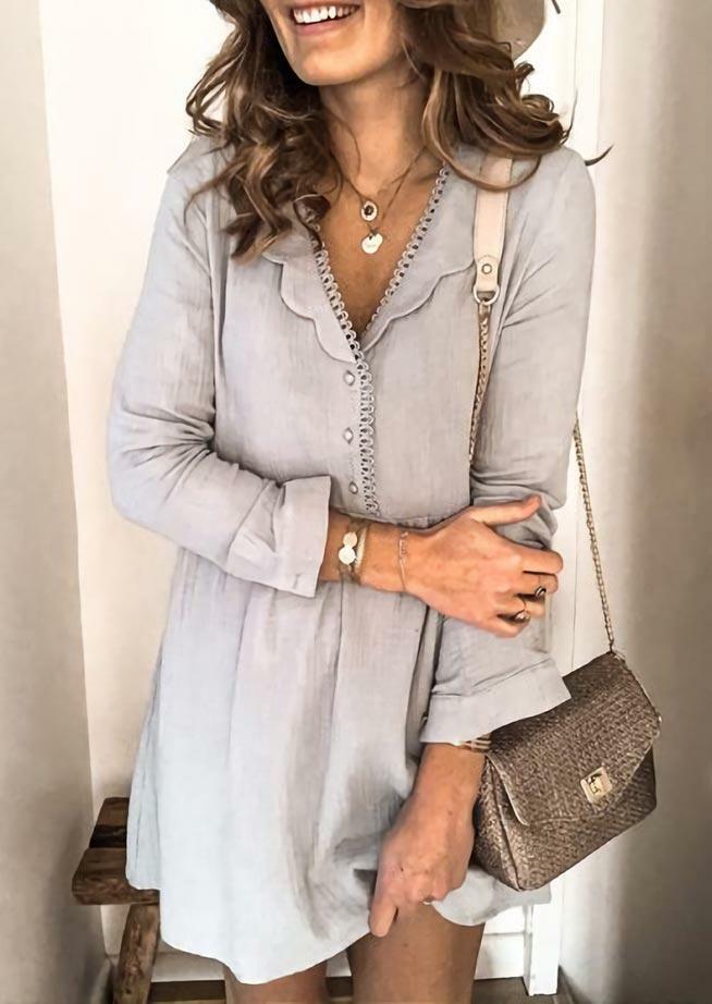Fairyseason coupon: Ruffled Button Lace Splicing V-Neck Mini Dress - Gray