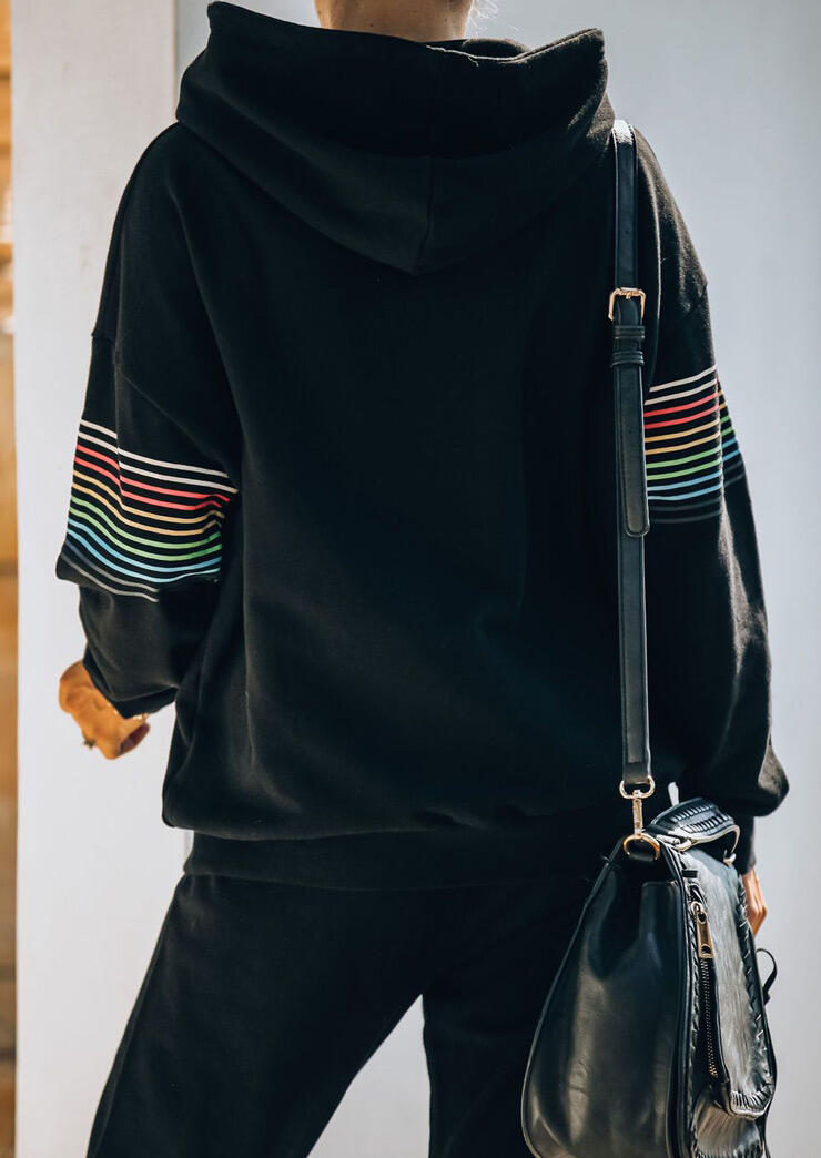 Colorful Striped Hoodie And Pocket Drawstring Pants Activewear Set