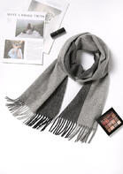 Feelily Unisex Christmas Gift Striped Tassel Lambswool Scarf