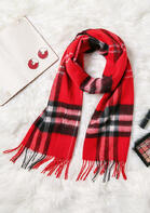 Feelily Plaid Tartan Tassel Pashmina Scarf For Women Christmas Gift