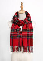 Feelily Classic Red Plaid Tartan Tassel Cashmere Scarf With Gift Bag