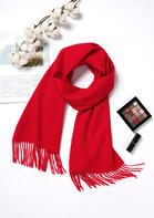 Feelily Classic Red Tassel Pashmina Scarf For Women Christmas Gift