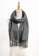 Feelily Unisex Gray Tassel Pashmina Scarf For Family Christmas Gift