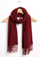 Feelily Classic Burgundy Tassel Cashmere Scarf For Women Christmas Gift
