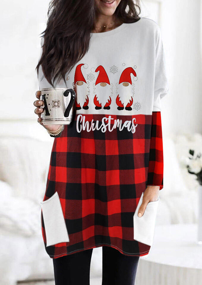 Christmas Santa Gnomies Buffalo Plaid Pocket Blouse