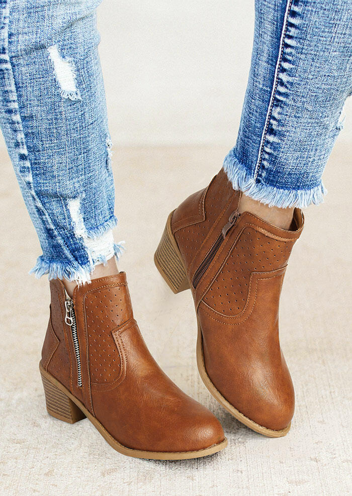 Fairyseason coupon: Winter Perforated Zipper Chunky Heel Ankle Boots - Brown