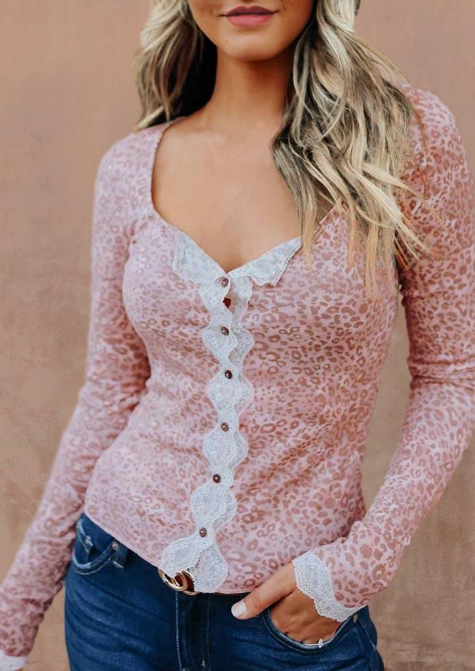 Leopard Lace Splicing Button Long Sleeve Blouse